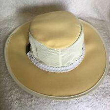 New Acoolah Outdoor Men's Hat Cream Cotton Canvas & Mesh Foldable Broad Brim