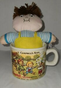 New Vintage 1993 Campbell's Kids Soup Mug Coffee Cup with boy plush doll