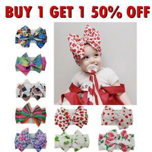 Newborn Baby Girls Large Bow Headband Infant Toddler Knot Hair Band Head Wrap
