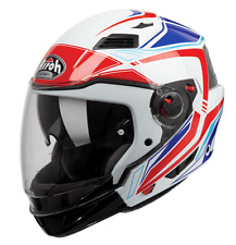 CASCO MOTO MODULARE CROSSOVER AIROH EXECUTIVE LINE BLU ROSSO BIANCO RED TG XL