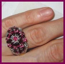 Orissa Rhodolite Garnet 5.85 cts Diamond Ring Platinum 14K YG S Silver 925 sz 8