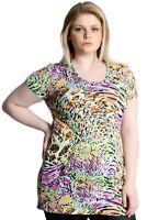 New Womens Top Plus Size Ladies Neon Summer Print Tunic Party Dress Nouvelle