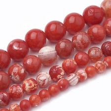 45 Edelsteine Perlen Natur Achat Rund 8mm Schmucksteine Rot Dragon Veins G885#3