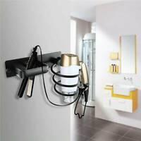 Wall Rack Hair Dryer Straightener Holder Storage Organizer Shelf  Bathroom BLACK