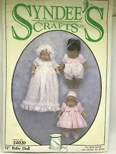 """Syndee's Crafts 24020 12"""" Baby Doll Sewing Dress Pattern 1994"""
