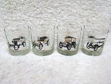 "Lot of 4 Antique Cars 3.5"" Bar Glasses, Olds, Cadillac, Buick, Chevy by Delco"