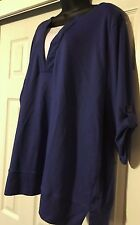WOMENS PLUS SIZE 2X XXL BLUE  SHIRT TOP WITH WHITE INLAY. NO LABEL