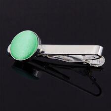 DQT Brass Fabric Inlay Tie Bar Plain Solid Mint Green Mens Tie Clip