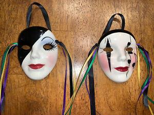 "Lot of 2 Vintage Original Fancy Faces New Orleans Ceramic Wall Masks 4"" EUC"