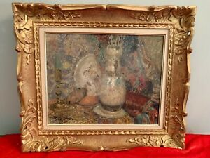 Joseph Louis Lamberton 1867-1943 French Impressionist Oil On Board Painting Fram