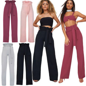 Ladies Jacquad Crepe Paper Bag High Waist Belted Wide Leg Trousers Plus Size8-20
