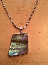 Sterling Silver Abalone Shell Fancy Pendant With Bali Byzantine Necklace