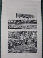 1916 WWI WW1 Aufdruck ~ Ruinen Von Zeppelin Schuppen Wrecked Russen ~