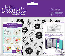 Docrafts Papermania FOLK FLORAL flowers A6 stamp set 40pc+ storage folder pocket