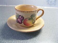 Hornsea Pottery, Yeovil fruit design ceramic cup & saucer, tea coffee 7cm  15cm