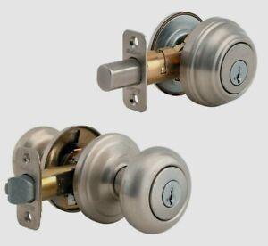 Kwikset Juno Satin Nickel Entry Knob & Single Cylinder Deadbolt 2 Smart Keys
