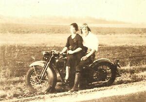 Old Vintage Antique Photo 1930s Harley-Davidson Motorcycle Badass w/ Girlfriend