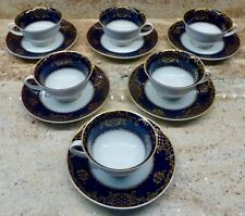 SET OF 6 - ROSENTHAL - CLASSIC ROSE - DEMITASSE CUPS AND SAUCERS - COBALT BLUE