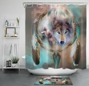 Bohemia Dream Catcher Blue Feather Wolf Shower Curtain Bathroom Accessory Sets