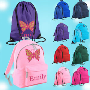 Personalised School Bag , Vinyl Rucksack, Backpack, PE Bag, Kit Bag | Butterfly