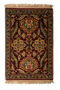 Handmade Small Rug Wool Traditional Design Agra Hand-Knotted Rug 92cm x 62cm