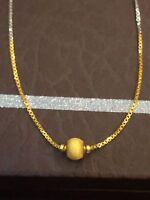 Vintage Dubai Handmade Chain Necklace In Solid Hallmark 22Carat Fine Yellow Gold