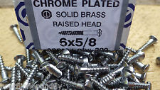 "40 x 5/8"" x 6 CHROME PLATED ON  BRASS RAISED HEAD WOOD SCREWS SCREW SLOTTED"