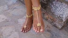GOLD all'uncinetto a piedi Nudi sandali-Favori Nozze-handmade-jewelry-Taglia unica-Beach