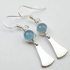 "925 Solid Silver Classic AQUA CHALCEDONY GIRLS' ONE OF A KIND Earrings 1.6"""