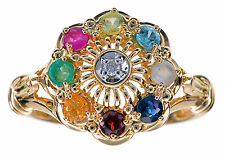14K Yellow Gold Multi Color Gemstones Ring Size 6