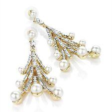 Pearl Drop Earrings Diamante Spray Drops