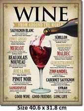 Wine Around The World 40.6 x 31.8cm Tin Sign 1941 Not fake Chinese Made In USA
