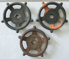 "THREE 3 3/4""  VINTAGE STEAMPUNK CAST IRON WATER VALVE HANDLES LOT 10"