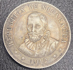 1912 Cordoba Nicaragua Great Toning - Choice Coin XF or Better