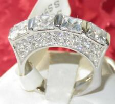 1188 PRINCESS CUT SIMULATED DIAMOND STERLING SILVER ETERNITY STAMPED PAVE