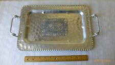VTG Cromwell Hand Wrought Aluminum Serving Tray Floral Fruit Design Collectible