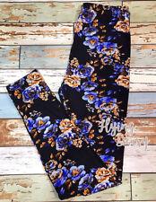 PLUS Size VIVID Floral Print Leggings Crazy Soft Brushed Peach Skin Fabric TC