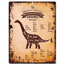 Pp0669 Vintage Brachiosaurus dinosaur Meat Cuts Plate sign Home Kitchen Decor