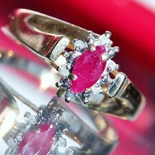 14k yellow gold ring 0.52ct natural ruby & diamond size 7 handmade vintage 2.3gr