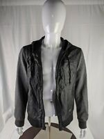American Rag Mens Black Faux Leather Hooded Bomber Jacket Cloth Sleeves Size M