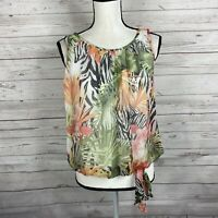 Cache Womens Sleeveless Top Blouse Size Small Floral Animal Print Elastic Hem