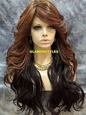 Long Wavy With Bangs Chestnut Brown Mix Full Synthetic Wig Hair Piece Heat Ok