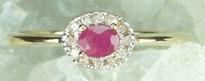 NEW Genuine Solid 9CT Yellow Gold Real Natural Ruby Diamond Dress Ring  Size N
