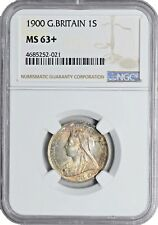 1900 MS63+ Great Britain 1 Shilling NGC UNC KM# 780 Silver Toned Victoria