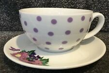 💜PAPERCHASE Breakfast Cup & Saucer White Mauve Spots & Floral (New Other)💜