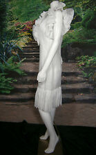 FANCY MOD BRIDAL NY WEDDING GOWN DRESS 6 VINTAGE INSPIRED WHITE SHORT RUFFLES