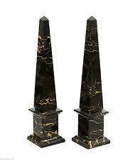 Obelisco Marmo Portoro Marble Obelisk Classic Sculpture Home Old Design H.40cm