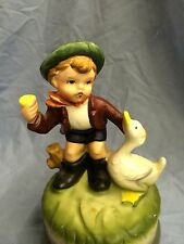 Vintage Musical Porcelain Figurine Boy With Duck Made in Japan
