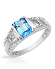 12~NIB Ring With 3.18ctw Genuine Blue Clear Topaz 925 Sterling Silver Size 9**