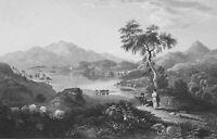 SCOTLAND Lake Loch Achray View from Black Rock - 1839 Antique Print Engraving